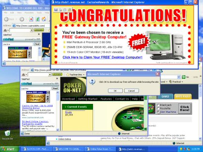 Internet Explorer storms of endless popup windows are a common symptom of spyware infestations.